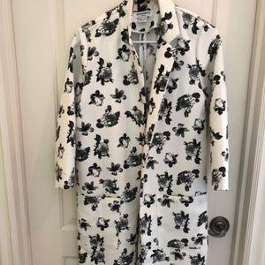 New Glamorous White Trench Coat/Black Rose Print